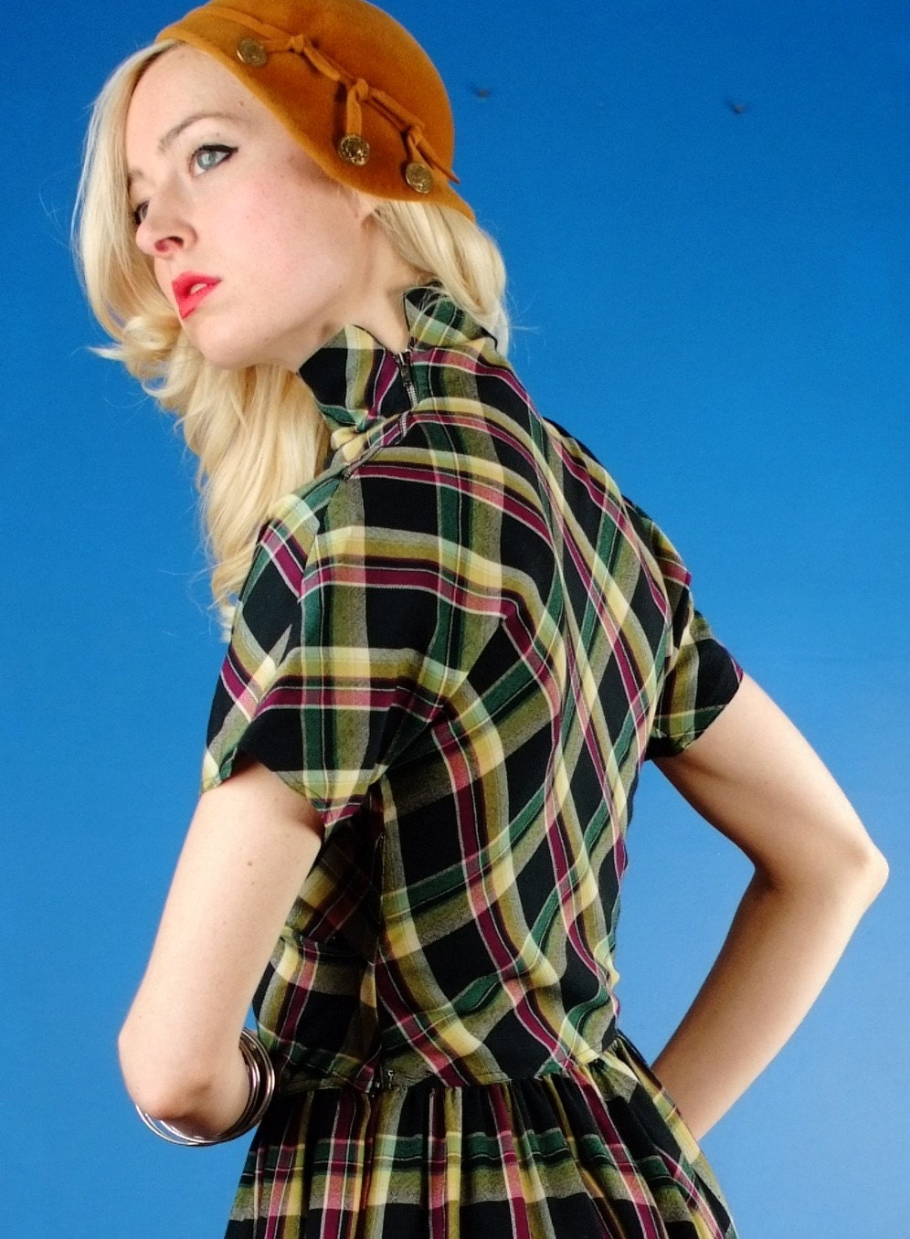Claire Mccardell Vintage 40s Schoolgirl Green Plaid Wool Swing