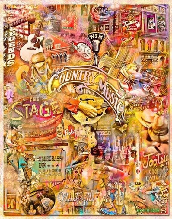 Nashville Music City, an Artistic Collage