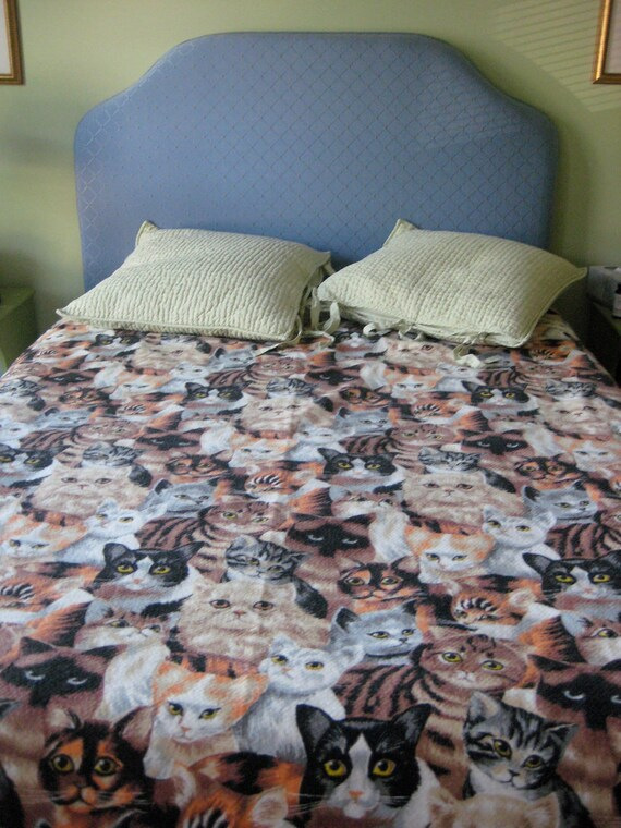 vintage NOS cat print bed spread blanket