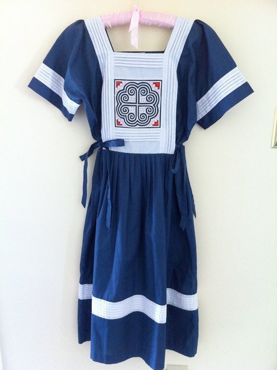 vintage ethnic embroidered heart bib pinafore dress
