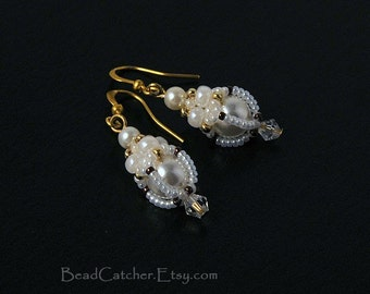 Winter snow White earrings
