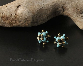 Star bead woven post earrings in turquoise