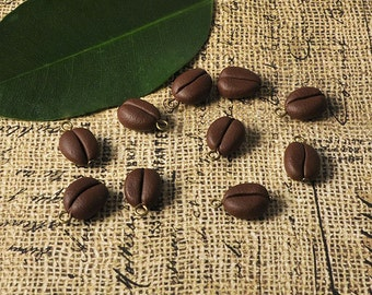 10 coffee bean charms beads for crafts & jewelry making