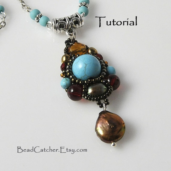 Tutorial - Beadwoven pendant with turquoise and pearls