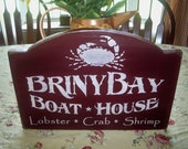 primitive wood sign Briny Bay boat house