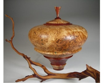 Lidded Bowl Woodturned  Australian Eucalyptus Burl