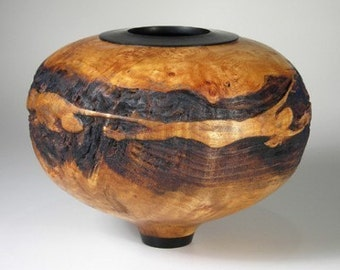 Decorative Bowl Woodturned Maple Burl and Ebony