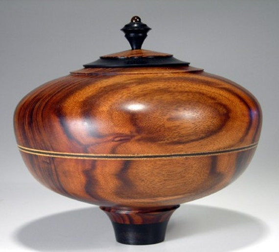 Reserved for Ellen Tigerwood turned wood vessel with Ebony finial