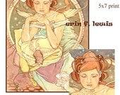 Fantasy Fairy and Mouse MiniPrint Art Nouveau