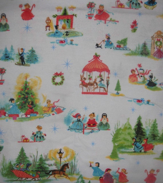 Vintage children christmas holiday flannel fabric 1 yard for Vintage childrens fabric by the yard