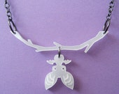 Hanging Bat Necklace in White