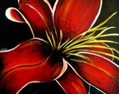 Original Acrylic Painting  Panel Board Stargazer Lily orange red green flower floral 24 in. x 24 in.