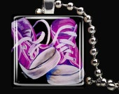 "Pink Converse tennis shoes high top female women fashion all star shoes glass pendant art square charm 24"" chain"