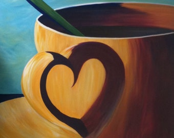Coffee cup heart reflection original acrylic spoon canvas 36 in x 48 in