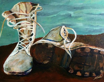 Original military boots dirt sky blue laces canvas board acrylic 20 in. x 16 in.
