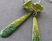 Black Friday 40% Off Sale Spring Greens - OOAK hand dyed earrings