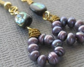 Lilac fresh water pearls and abalone gold earrings