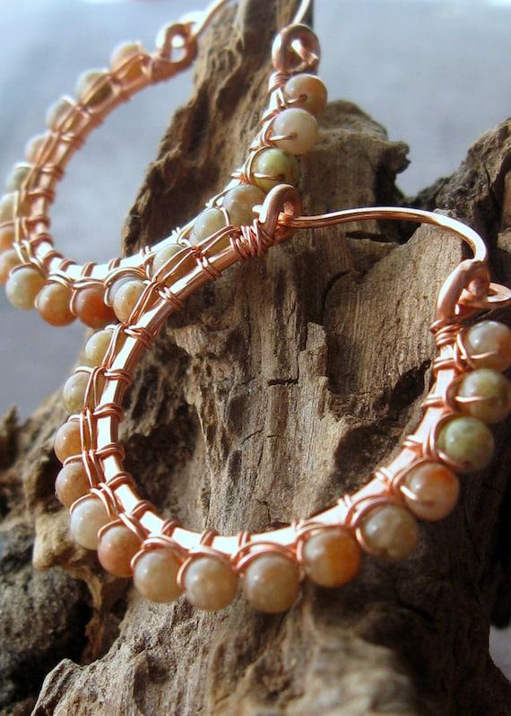 Autumn Jasper wire wrapped copper hoop earrings hand shaped bright copper hoops - Autumn Sky