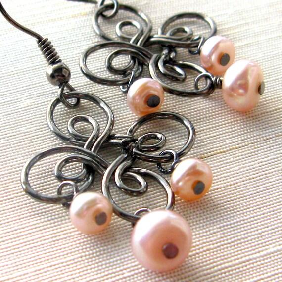 Pink fresh water pearl and gunmetal earrings