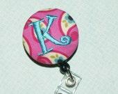 Badge  Reel, Monogrammed,  Retractable cord, U design, pink paisley