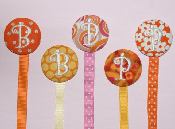 U Design Monogrammed pacifier holder / pacifier clip ///  5 options shown, pink and oranges