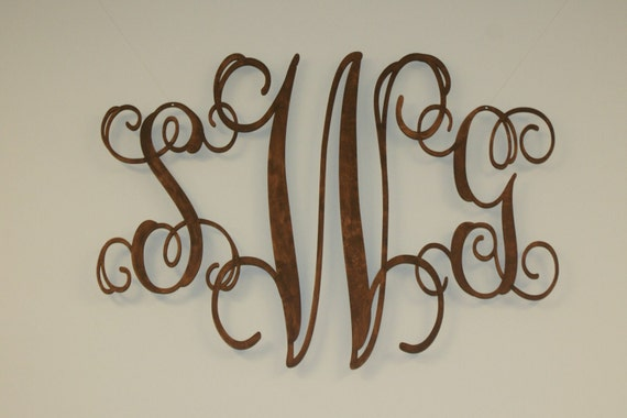 Wood Initals in Monogram for Home Decor, UNFINISHED, ready to stain or paint, SZ LARGE, Shipping Included