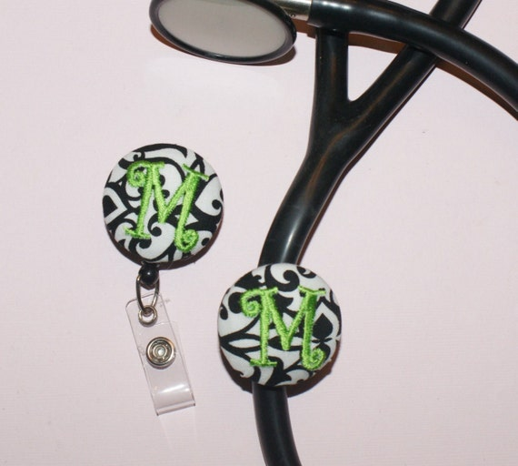 MATCHING SET -- Badge Reel and Stetho Cover--------You Design with fabric-----------Set of 2