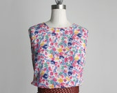 SALE MINI DRESS 1990s Vintage Floral Print Mini Sun Dress