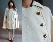 60s vintage mod military cream cape with gold buttons