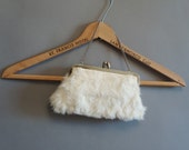 60s vintage cute mod white fluffy fur mini purse