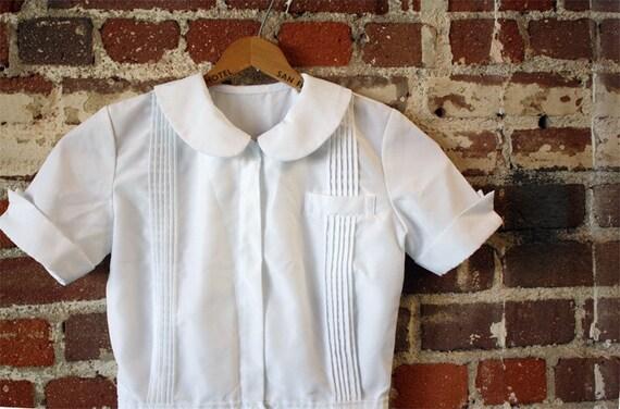 70s Vintage Cute White Nurse Style Uniform Dress By Decades
