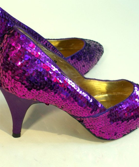80s Vintage Glam Purple Sequin High Heel Shoes Pumps