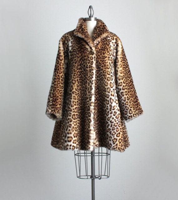 Leopard Coat 1960s Vintage Swing Faux Fur Leopard Print Coat