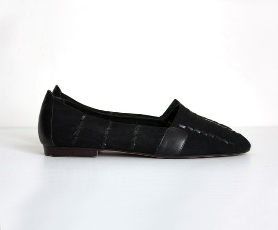 VINTAGE BLACK FLATS 1990s Vintage Black Leather And Suede Woven Loafer Flats Sz  9 1/2 9.5