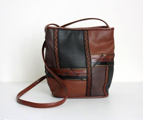 VINTAGE SOUTHWESTERN PURSE 1990s Vintage Black And Brown Faux Leather Purse