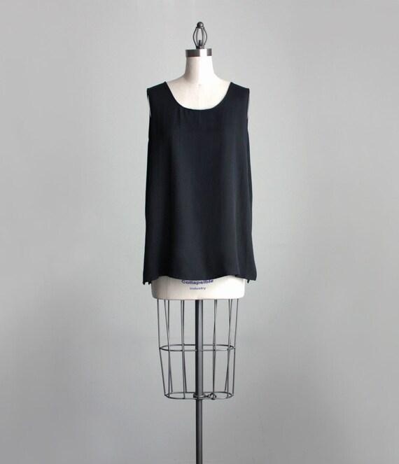 VINTAGE TANK SHIRT 90s Vintage Black Silken Tank Top Camisole Shirt