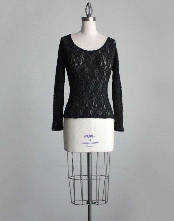 BLACK LACE SHIRT 1990s Vintage Black Sheer Floral Lace Stretch Long Sleeve Shirt