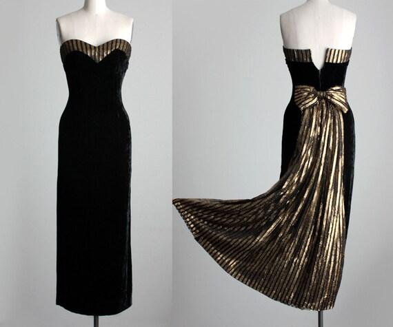 VELVET PARTY DRESS 1990s Vintage Black And Gold Strapless Velvet Evening Gown