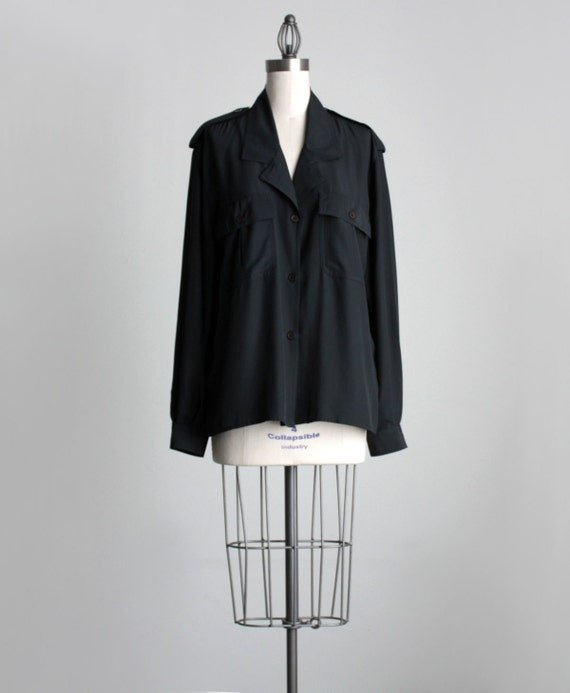 BLACK SILKEN SHIRT 1990s Vintage Black Extra Large Military Inspired Slouchy Button Down Shirt