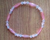 PINK PET NECKLACE -pink flowers and faux crystals, 8 in to 16 in long,  PET SAFE