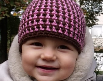 Brown-Rose Baby Hat - More Sizes - PDF Crochet Pattern