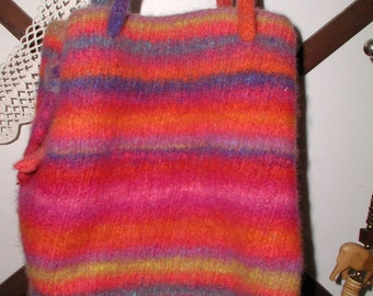 Hand Made Felted Wool Handbag Purse Rainbow