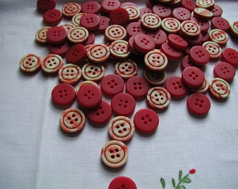 Vintage 20 Red and White Laminated Buttons