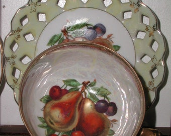 Vintage Yellow Luster Fruit Footed Tea Cup and Saucer