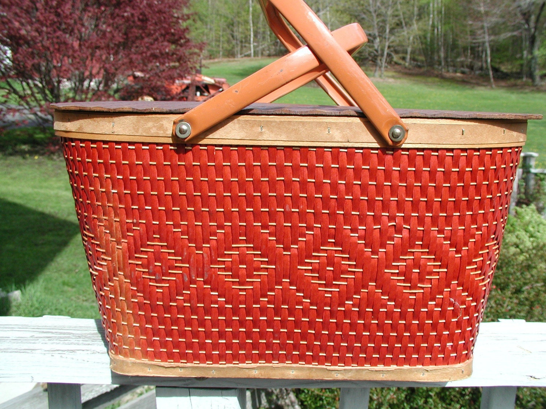 Red Plastic Picnic Basket : Vintage redman picnic basket with plates cups utensils