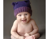Two-Tone Boutique Kitten Hand Knit Hat 3-4 months Baby Photo Prop