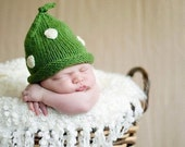 0-3 Months Boutique Baby Pixie Newborn Infant Emerald Green POLKA DOT Hand Knit Hat Photo Prop THIS HAT MADE IT TO THE FRONT PAGE