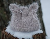 Baby Hat Soft Warm Kitten Hand Knit Hat Newborn Baby Photo Prop Taupe Infant Kitty Hat