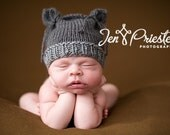 Animal Hat, Knit Baby Hat, Two-Tone, Gray, Boutique, Kitten Hat, Ears, Hand Knit Hat Newborn Photo Prop