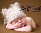 Kitten Hat, Soft, Infant Baby Photo Prop, 3-4 months hat for baby, taupe knit hat